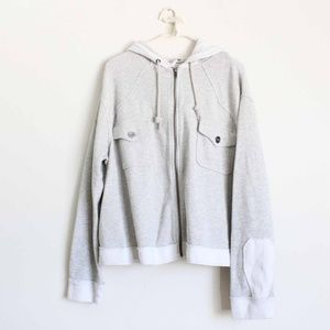 Free People Hoodie Sweatshirt Large Gray Pockets